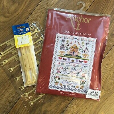 Anchor Counted Cross Stitch Kit Sampler Unused Plus Thread Organisers Stitchbows
