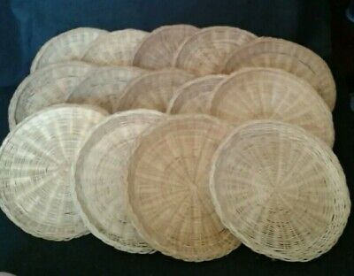 "Lot of 14 VINTAGE Wicker 9"" Paper Plate Holders Picnic Party RATTAN"