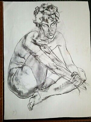 NUDE ORIGINAL FINE ART LARGE CHARCOAL DRAWING by PAUL WAGENER (AMERICAN b. 1918)