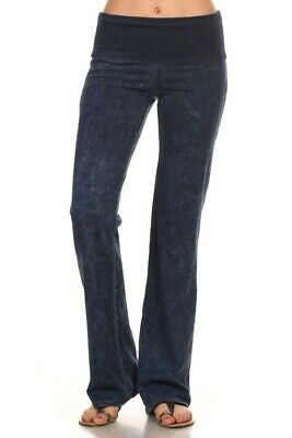 552a882dcaa407 CHATOYANT FOLD Over Waist Mineral Wash Boot Cut Electric Blue Medium ...