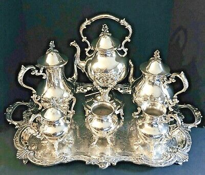 1930s Goldfeder Silver Co. Monumental 7 Piece Silverplate Coffee and Tea Service