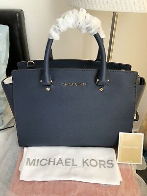 d106260ce3 BNWT Micheal Kors Saffiano Leather LARGE Navy Selma tote RRP £340 dust bag  inclu