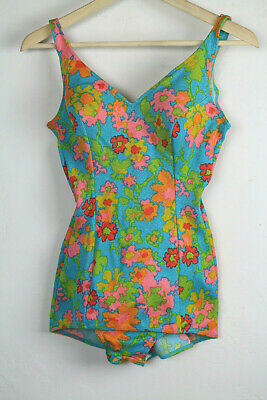 VTG 1960s Swimsuit One Piece Floral Molded cups size S/M