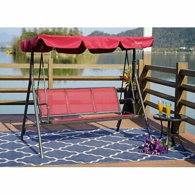 Groovy Outsunny Sling Fabric 3 Person Steel Outdoor Patio Porch Pabps2019 Chair Design Images Pabps2019Com