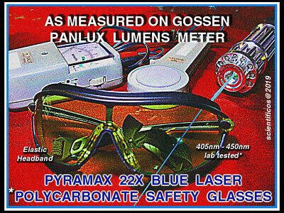 BLUE & UV LASER COATED POLYCARBONATE Pyramax Brand 22X Attenuation Safety Goggle