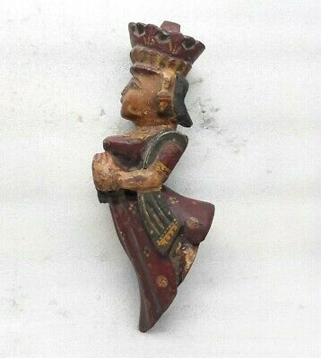 Rare Original Old Wooden Temple Wall Mount Statue Angel Painted Bracket Corbel M