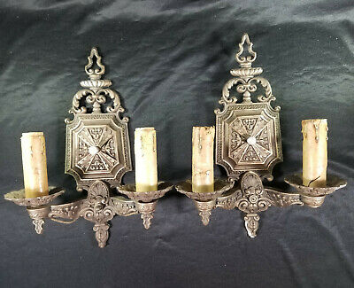 Pair of Antique Vintage Wall Sconces Light Fixtures Cast Iron Ornate Art Dec CLS