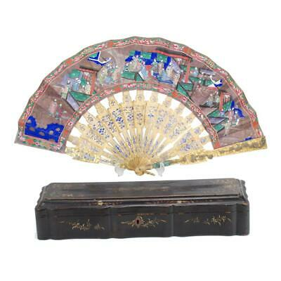 Perfect 19Th C.century Chinese Silver Filigree & Enamel Quality Fan With Box