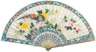 Perfect 19Th C.century Chinese Silver Filigree & Enamel Quality Fan