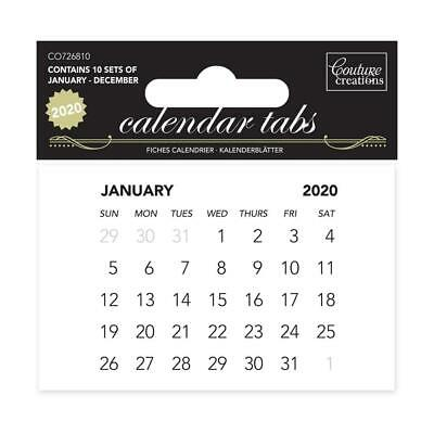 Couture Creations 2020 Calendar Tabs Planner Memo Tear off Pages x10 Sets