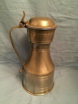 English Pewter Tappit Hen Lidded Hallmarked Yates Pitcher Tankard 9.75""