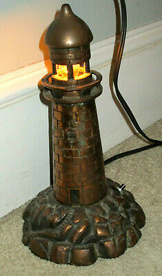 Antique Art Deco ART NOUVEAU Cast Copper? Lighthouse Lamp Nautical Maritime NR