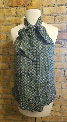 Anthropologie Girls From Savory Sleeveless Neck Tie Polka Dot Blouse Blue Silk 2