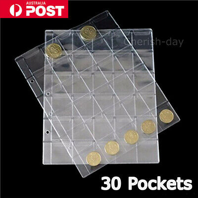 10pcs 30 Pockets Coin Holders Folder Pages Collection Album Storage Book Sleeve