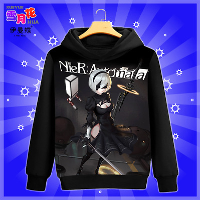 Game NieR Automata YoRHa No.2 Long Sleeve Hoodie Coat Pullover Unisex#ER561