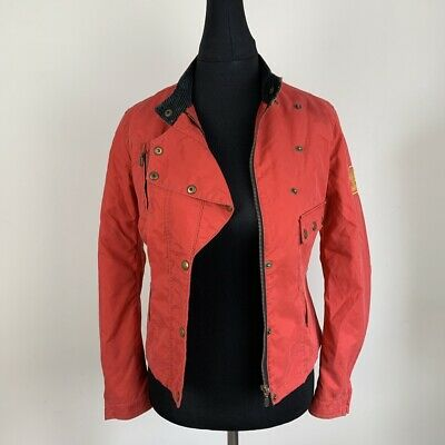 656a70f40fa Vintage Womens BELSTAFF Black Prince Biker Motorcycle Jacket Red Size Small  :B18
