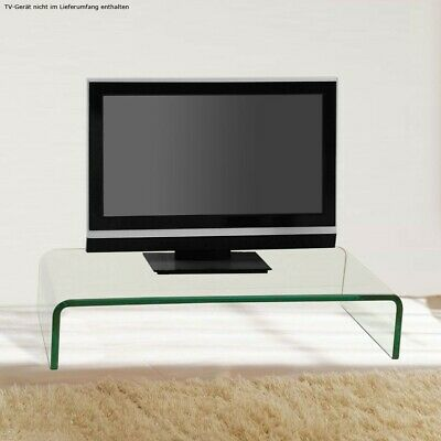 Modern TV Table Monitor Attachment TV Tray Curved Glass Table Living Room Noble
