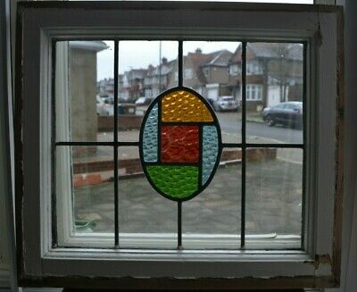 Art deco leaded light stained glass window sash/fanlight. R892a.