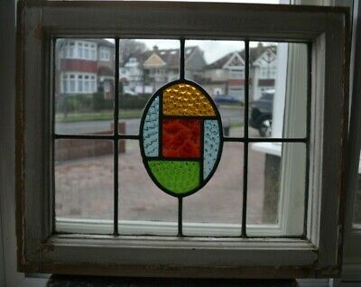 Art deco leaded light stained glass window sash/fanlight. R892b.