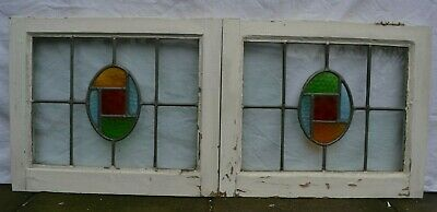 2 art deco leaded light stained glass window sashes/fanlights. R892b.