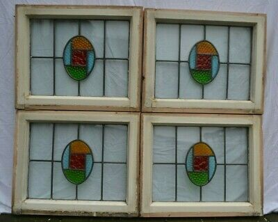 4 art deco leaded light stained glass window sashes/fanlights. R892b.