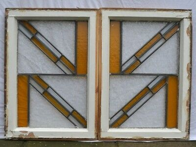 2 British art deco leaded light stained glass window sashes GLISTRE GLASS. R881c