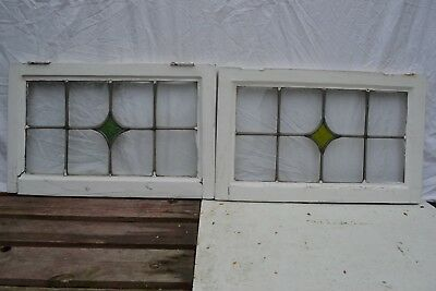 2 art deco British leaded light stained glass window panels. R856d.
