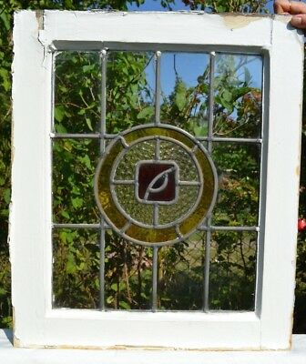 British leaded light stained glass window sash fanlight. R287.