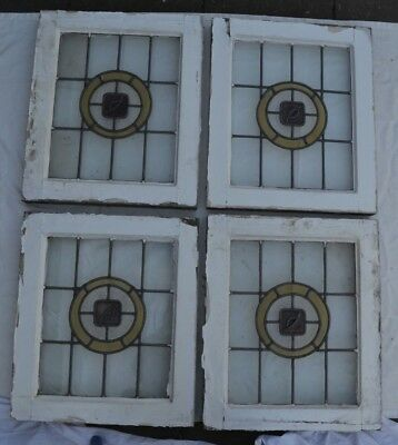 4 British leaded light stained glass window sashes fanlights. R287.