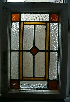 Art deco British leaded light stained glass window sash fanlight. B932a.