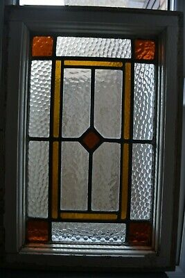 Art deco British leaded light stained glass window sash fanlight. R932b