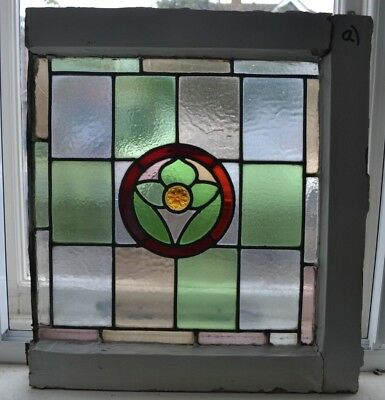1 leaded light stained glass window sash fanlight. B787a.