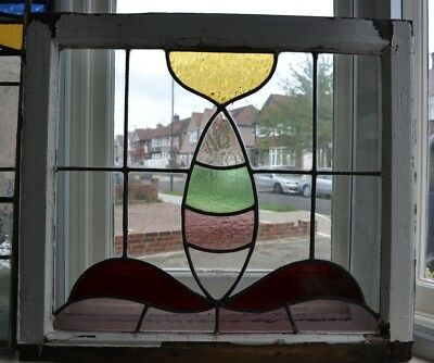 British leaded light stained glass window sash fanlight. R311b.