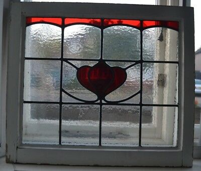 British leaded light stained glass window sash fanlight. R806b