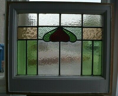 British leaded light stained glass window sash fanlight. R636