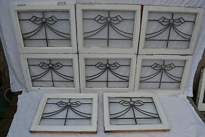 7 British leaded light stained glass window panels. R747. WORLDWIDE DELIVERY!