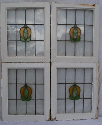 4 British leaded light stained glass window sashes fanlights. R778b.