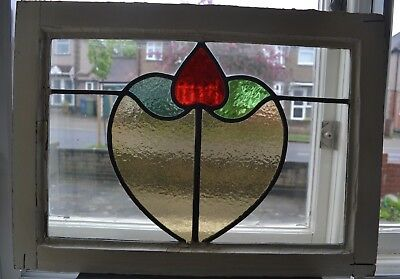British leaded light stained glass window sash fanlight. R474