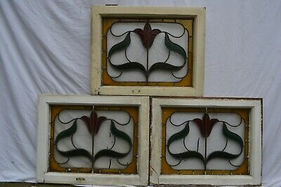 3 British leaded light stained glass window sashes. B908