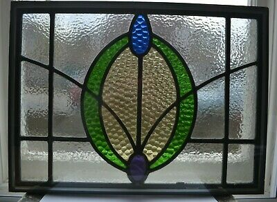 Traditional leaded light stained glass window fanlight - DOUBLE GLAZED. R917d