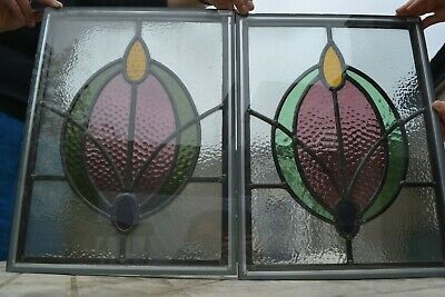 2 traditional leaded light stained glass window fanlights - DOUBLE GLAZED. R917b