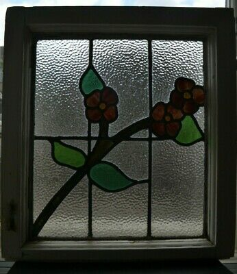 British leaded light stained glass window sash fanlight. R944d.
