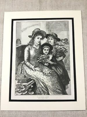 1887 Print Victorian Lady Children Girls Flower Basket Antique Original