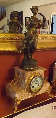 Antique Ornate French 8 Day Pink Marble and Gilt  Figural Mantle Clock