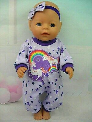 "Dolls clothes for 17"" Baby Born/Cabbage Patch Doll~PURPLE STAR~UNICORN JUMPSUIT"