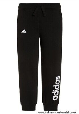 Girls Adidas Black Linear Cuffed Jogger Pant Bottoms 5-6 Years RRP £25 BNWT