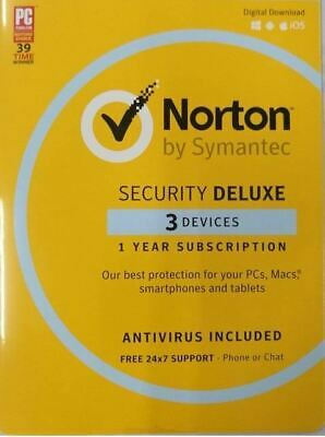 Norton Symantec Security Deluxe 2020 3 device / PC 1 year Email license key