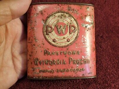 P.w.p. Scarce Antique Black Powder Tin Box Horn Flask Poland Polska