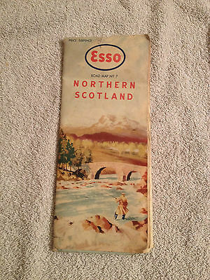 1950s Esso Road map of Northern Scotland No.7