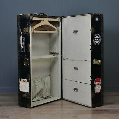 Attractive Large Vintage Watajoy Metal Bound Chest Storage Shipping Trunk